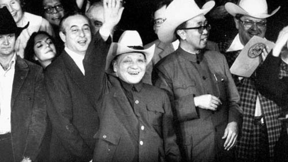 Chinese leader Deng Xiaoping dons cowboy hat during his 1979 US visit, at the start of a new era in US-China relations