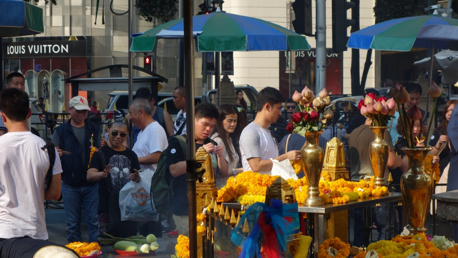 Erawan Shrine in central Bangkok, where a bomb went off in August 2015, killing 20 people and injuring 120.