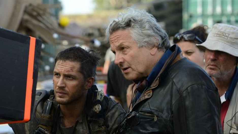 "George Miller with Tom Hardy on the set of ""Mad Max: Fury Road"" (Jasin Boland)"