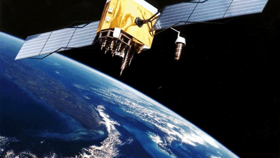 Artist's conception of GPS Block II-F satellite in Earth orbit.