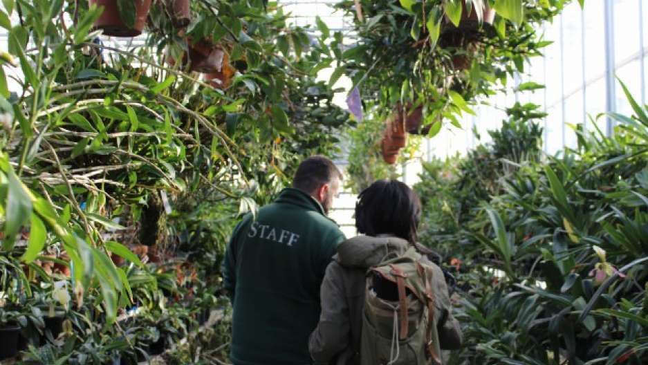 Hachadorian, who oversees the CITES Rescue Center Program for the New York Botanical Garden, and Alexa Lim, associate producer for Science Friday, walk through the Nolen Greenhouses. Photo by Becky Fogel