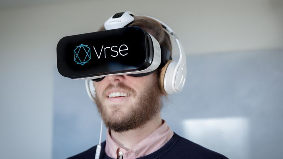 A viewer experiencing a Vrse.works virtual reality film through a headset (Vrse.works)