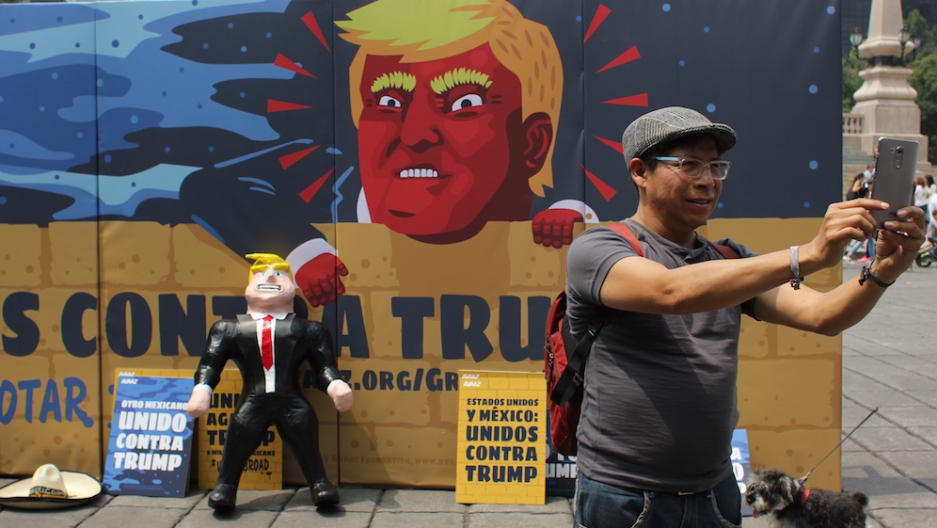 Piñatas and billboards against Donald Trump were one of Mexico City's latest efforts to get out the vote in the United States.