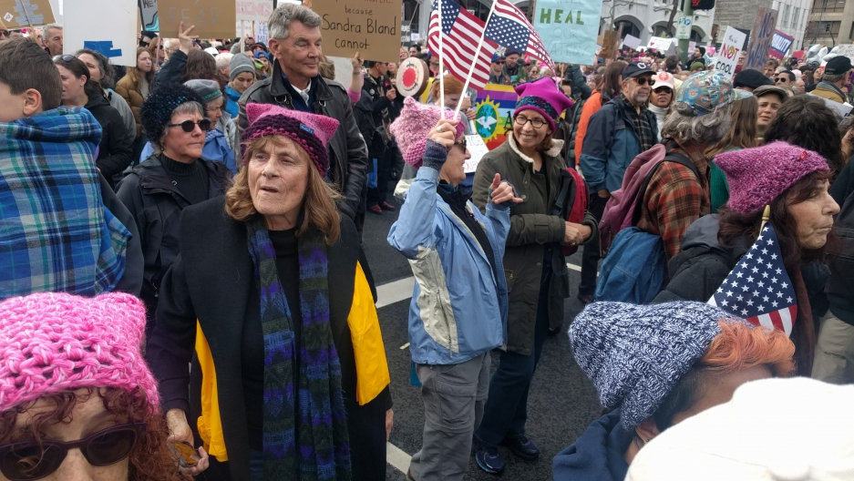 Women's March in Oakland, CA on 1-21-17  drew more than 60,000 people