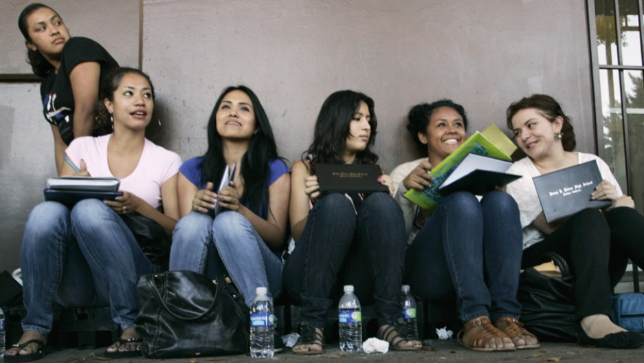 Students waiting in line for assistance with paperwork for the Deferred Action for Childhood Arrivals program in Los Angeles, California, on Aug. 15, 2012.