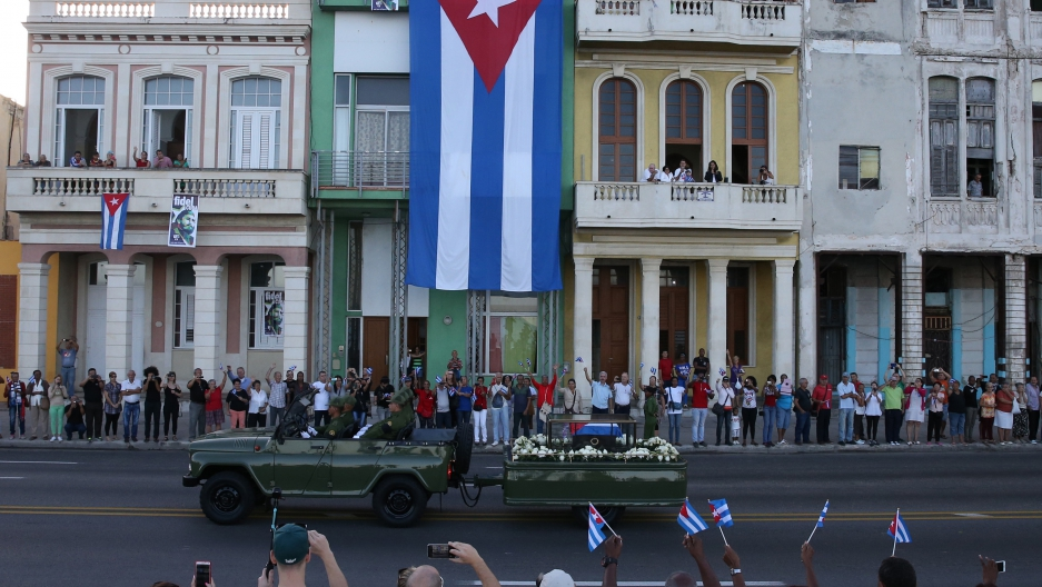 A military vehicle transports the ashes of Cuba's late President Fidel Castro at the start of a three-day journey to the eastern city of Santiago, in Havana, Cuba, November 30, 2016.
