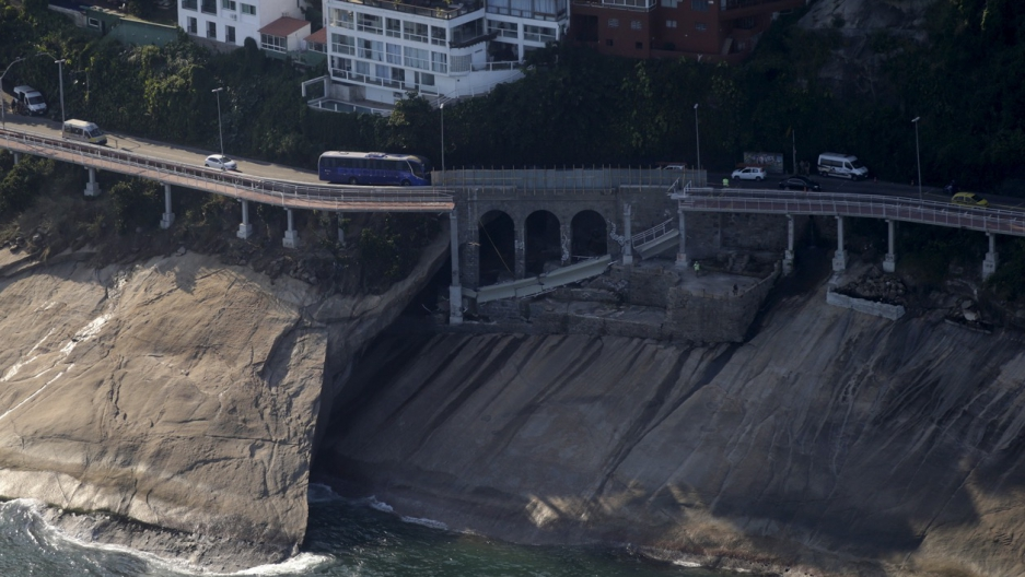 The collapsed area of the new cycle lane in Rio de Janeiro, Brazil, on April 25.