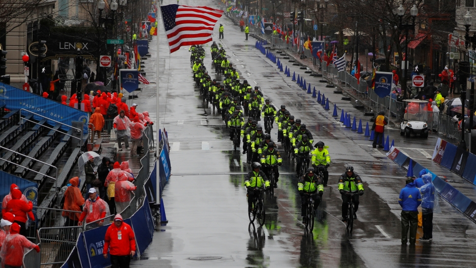 Boston Police arrive at the finish line for the 122nd Boston Marathon in Boston, Massachusetts, US, April 16, 2018. Brian Snyder/Reuters