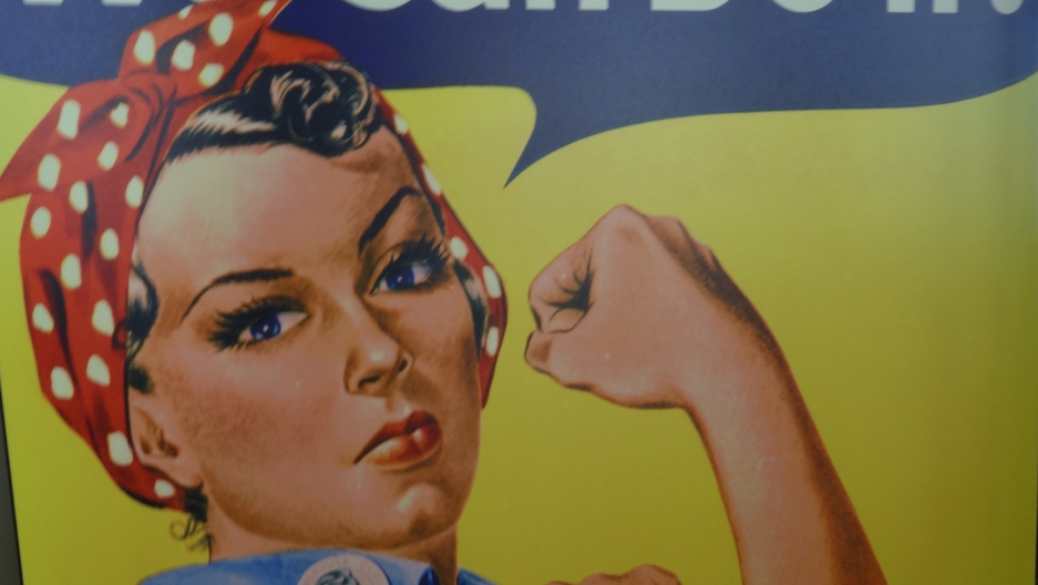 Rosie the Riveter poster, from World War II era
