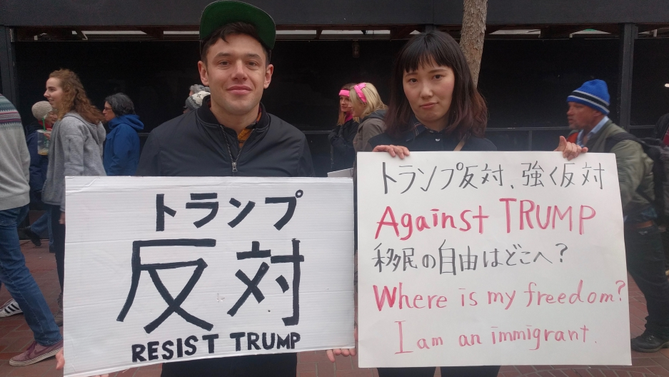 Saiko and Max Reynard, joining the San Francisco Women's March