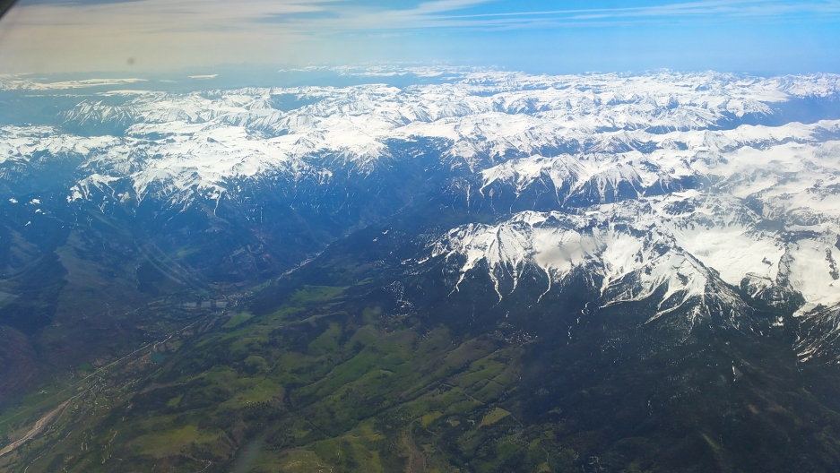Snow over Colorado's San Juan Mountains, as seen from the side windows of the Airborne Snow Observatory. Photo by Airborne Snow Observatory program, NASA/JPL, California Institute of Technology