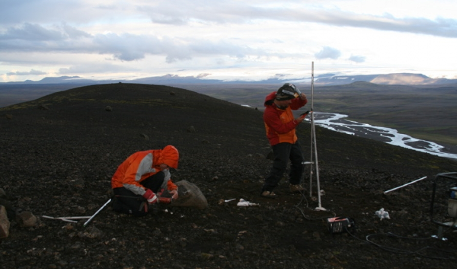 "Scientists setting up GPS sensors to measure ""accelerated uplift"" in Iceland."