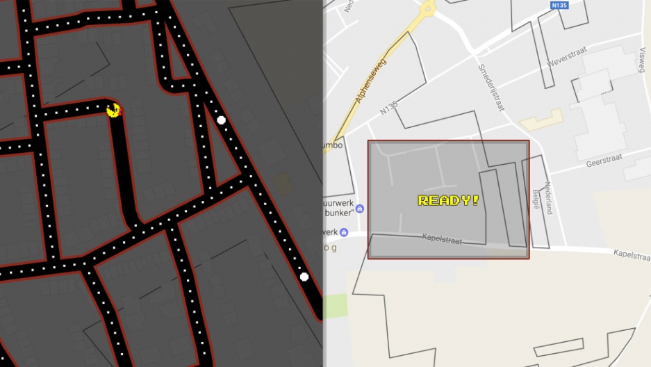 Dark grey lines show some of the Belgium-Netherlands borders that you can cross in the town of Baarle-Hertog and Baarle-Nassau.