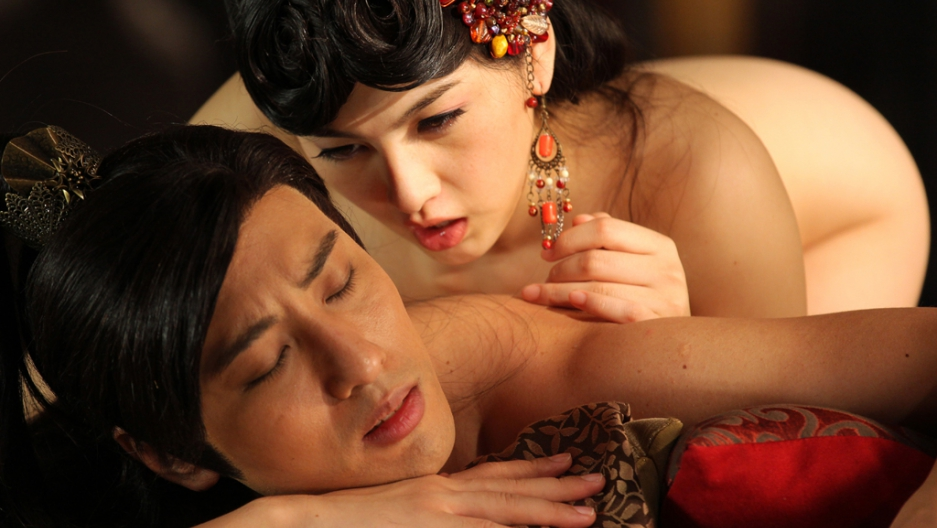 extreme chinese porn - Adult film actress Saori Hara (top) and actor Hiro Haayana (bottom) of  Japan perform for the camera during filming on the set of \