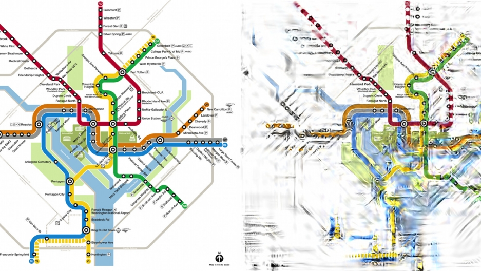 Washington D.C.'s Metro map (L) and Dr. Rosenholtz's peripheral vision visualization (R) with a focus on the Dupont Circle stop. Courtesy of Ruth Rosenholtz