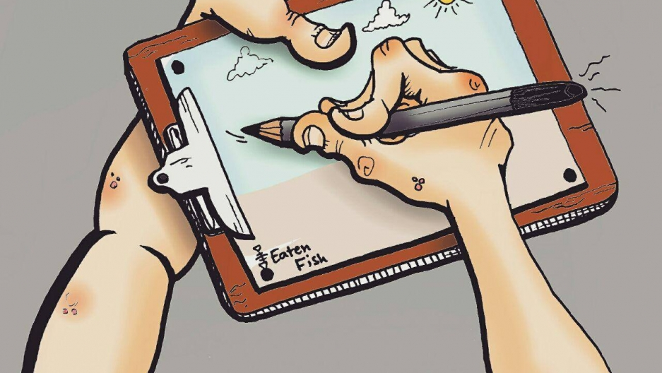 cartoon showing closeup of hand of cartoonist Eaten Fish drawing on a cartoon on a clip board.