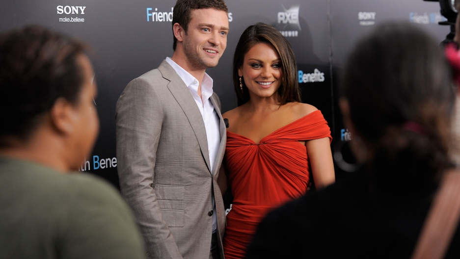 Actors Justin Timberlake and Mila Kunis attend the 'Friends with Benefits'  premiere at the Ziegfeld Theater on July 18, 2011 in New York City.