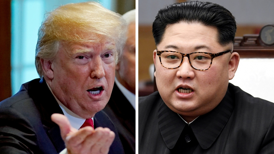 A side by side photos shows Donald Trump on the left and Kim Jong-un on the right.