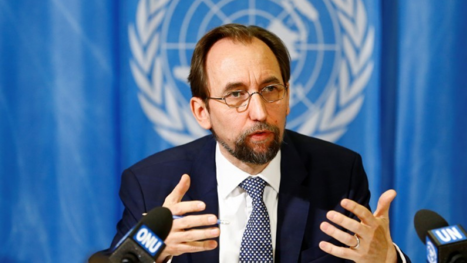 Zeid Ra'ad al-Hussein of Jordan speaks during a news conference at the United Nations European headquarters in Geneva.
