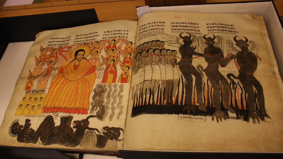An open book of the Maqdala manuscripts.
