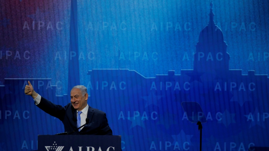 Israeli Prime Minister Benjamin Netanyahu takes the stage to speak at the AIPAC policy conference in Washington, DC, U.S., March 6, 2018.