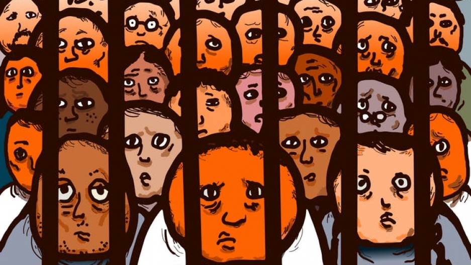 an illustration of people behind bars