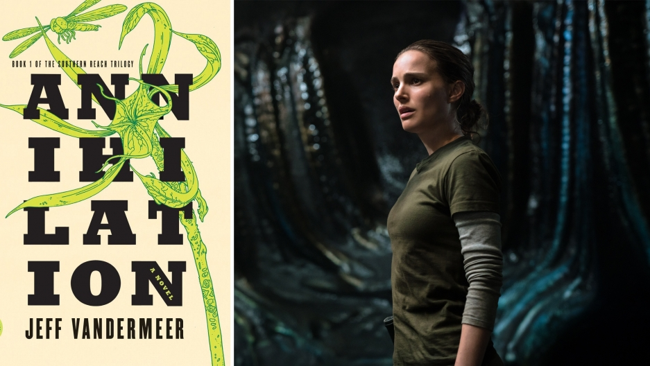 """The book cover and a movie still from """"Annihilation."""""""