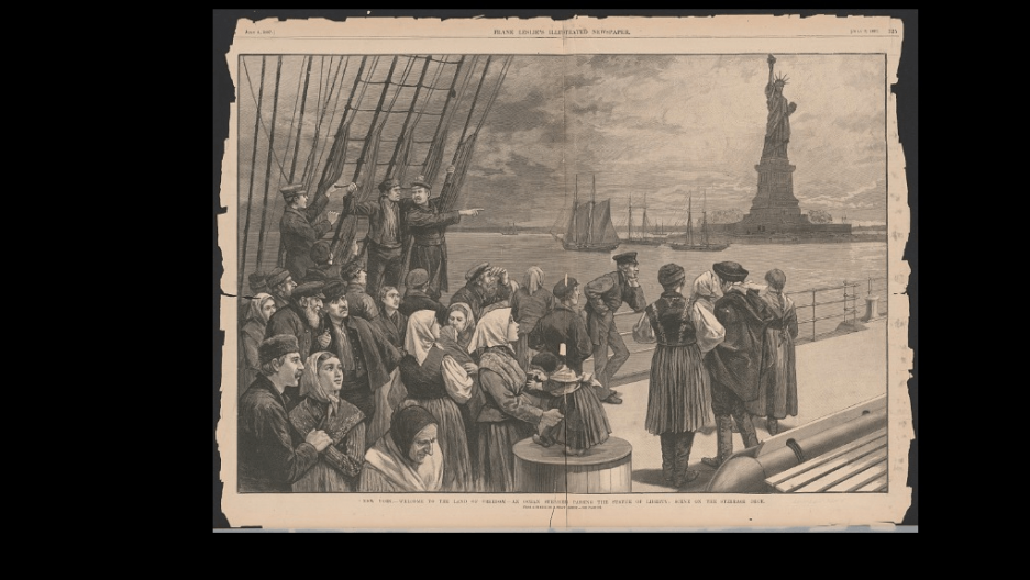 Sketch of an ocean steamer passing the Statue of Liberty. 1887. Credit: The Library of Congress