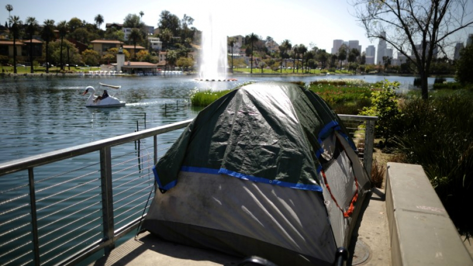 A tent is seen next to Echo Park Lake in Los Angeles, California, April 11, 2018.