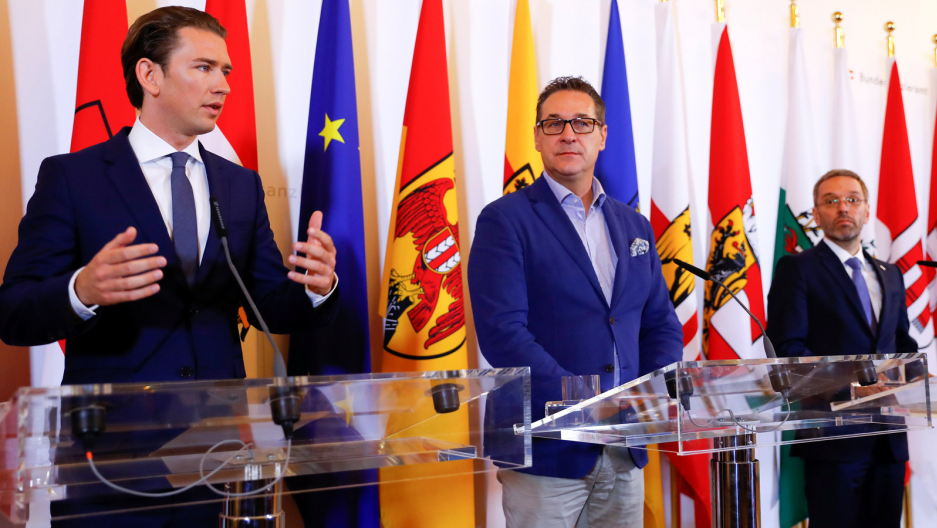 Austrian Chancellor Sebastian Kurz, Vice Chancellor Heinz-Christian Strache and Interior Minister Herbert Kickl attend a news conference in Vienna, Austria, June 8, 2018.