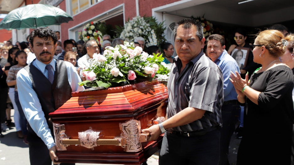 family members carry the coffin in a murdered political candidate in mexico