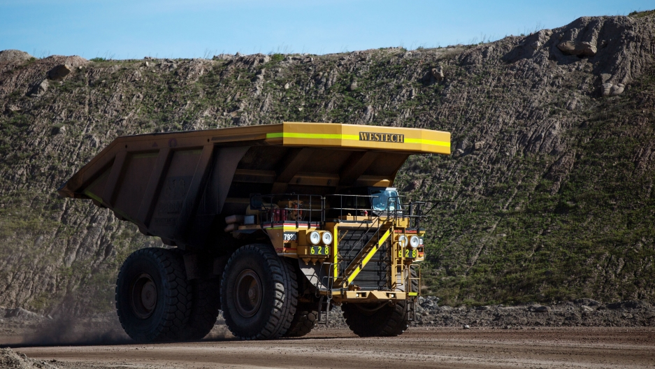 A haul truck at Peabody Energy's Rawhide coal mine near Gillette, Wyoming. The past few years have been tough for the coal industry in Wyoming — the company filed for Chapter 11 bankruptcy in 2016.