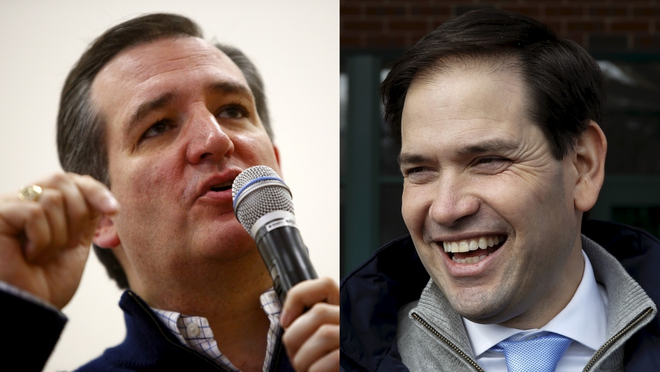 Republican presidential candidates Ted Cruz, left, and Marco Rubio, right, are Latino, but their experiences as such are different from a large number of the US' Latino population.