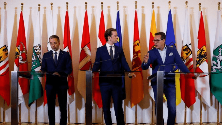 Austrian Chancellor Sebastian Kurz, Vice Chancellor Heinz-Christian Strache and Interior Minister Herbert Kickl attend a news conference in Vienna.