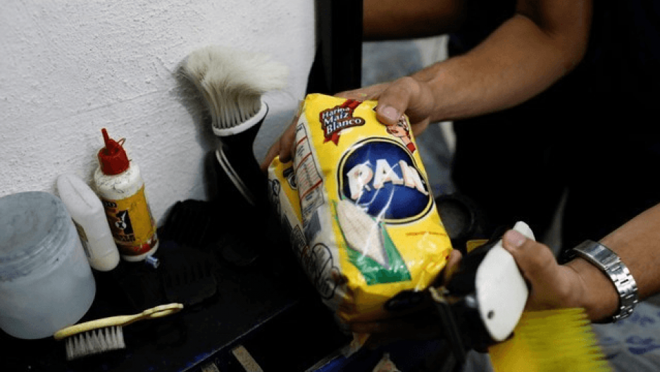 fish, flour and other provisions await trade in Venezuela