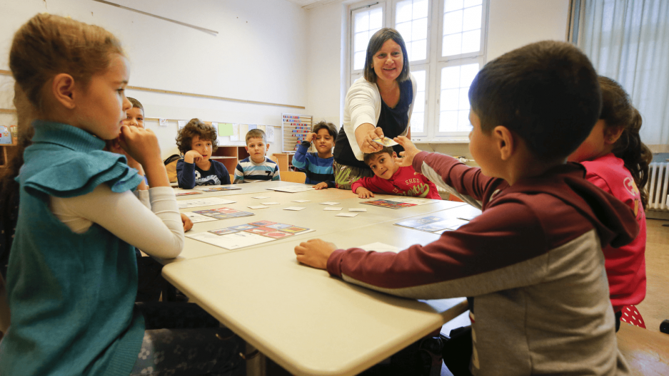 refugee children take an integration class in Germany