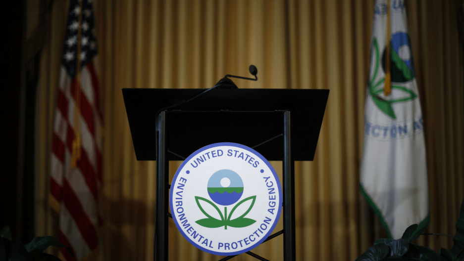 a podium at the epa with nobody at it
