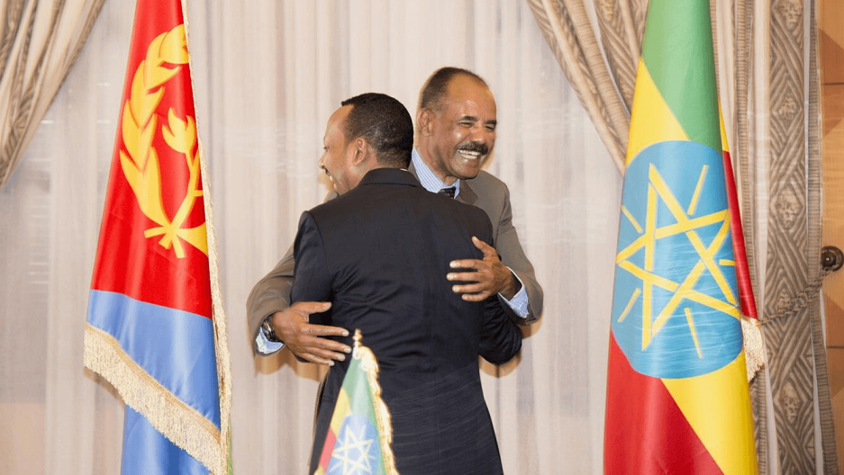 Ethiopia's Prime Minister Abiy Ahmed and Eritrean President Isaias Afwerk embrace