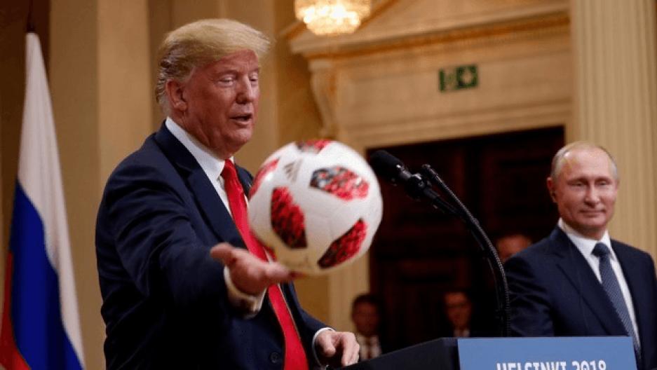 Putin and Trump having fun at a press conference.