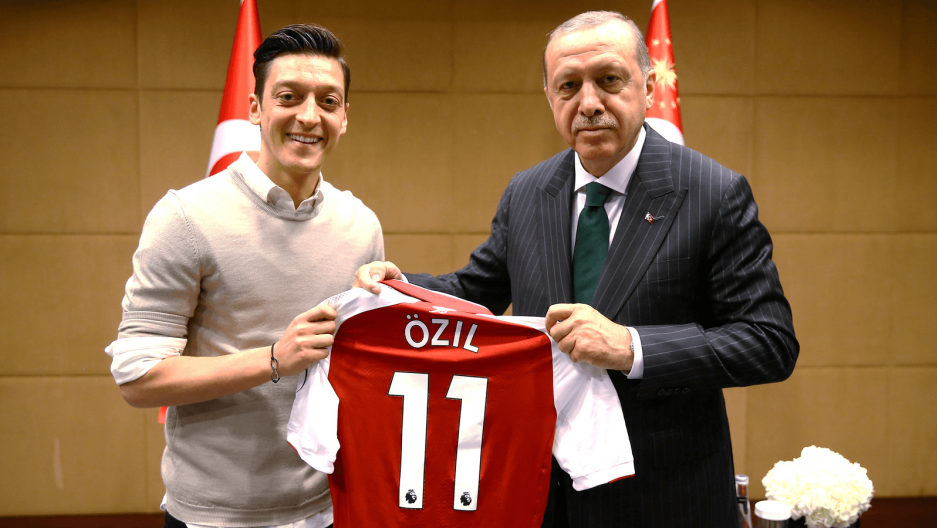 Turkish President Tayyip Erdoğan meets with Arsenal's soccer player Mesut Ozil