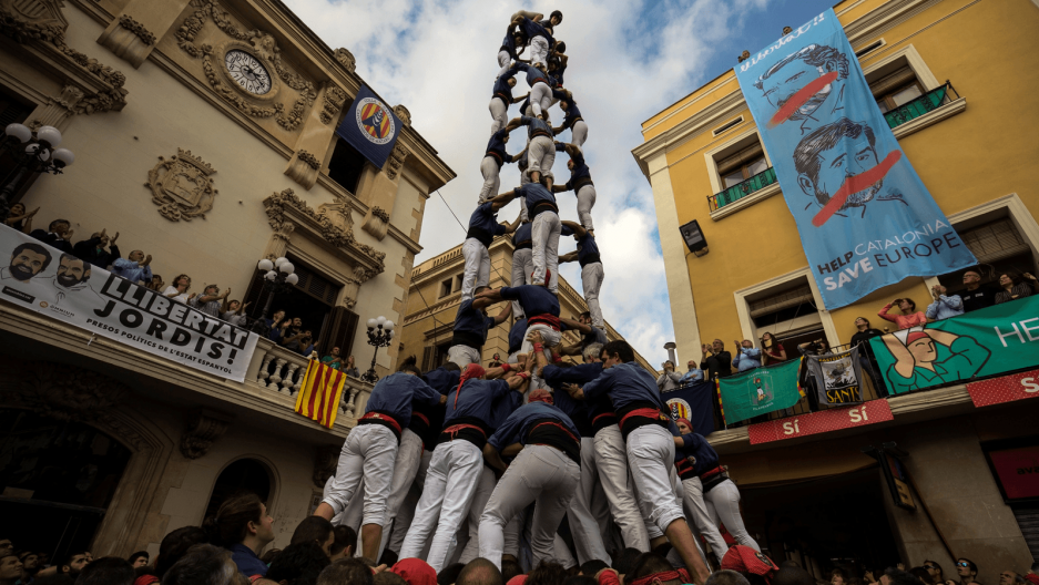 a human tower in Catalonia, Spain