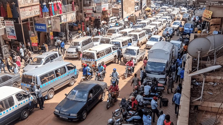a crowded street in kampala, uganda