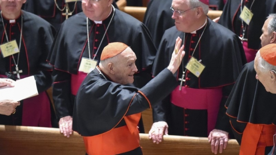 Cardinal Archbishop Emeritus Theodore McCarrick waves