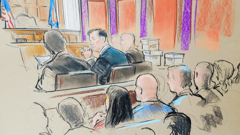 courtroom sketch of Paul Manafort at trial