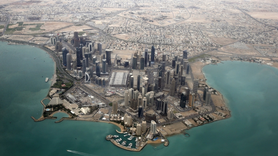An aerial view shows the diplomatic area in Doha, Qatar, March 21, 2013. Saudi Arabia and the United Arab Enirates led other Arab countries in cutting diplomatic relations with Qatar in June 2017. Organizations with ties to Saudi and the UAE then spent mi