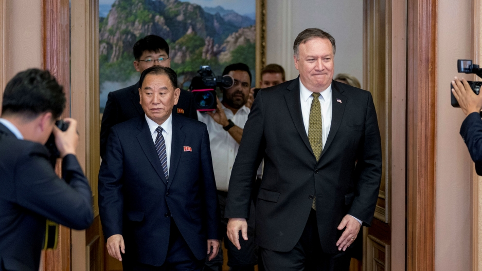 US Secretary of State Mike Pompeo and Kim Yong-chol, a North Korean senior ruling party official and former intelligence chief, return to discussions after a break at Park Hwa Guest House in Pyongyang, North Korea, July 7, 2018.