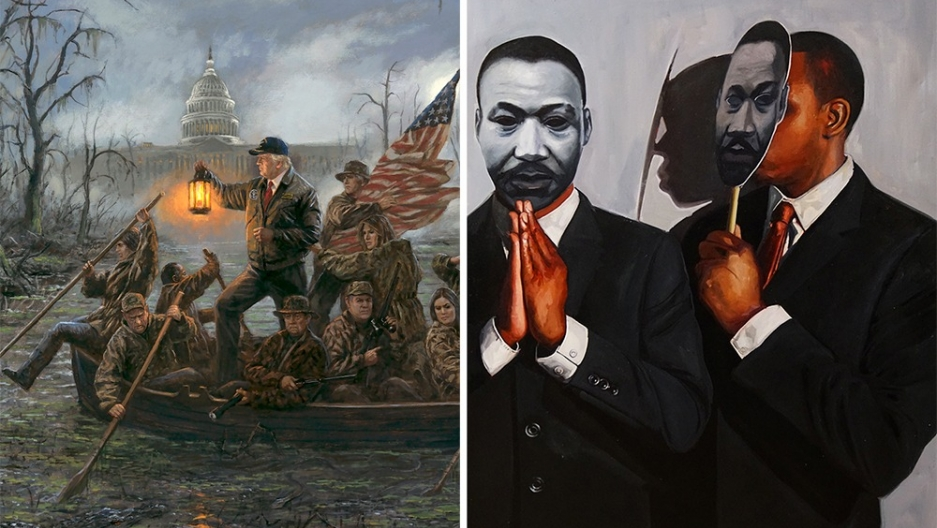 """Crossing The Swamp,"" by Jon McNaughton and ""Congregation: MLK,"" by Tylonn Sawyer"
