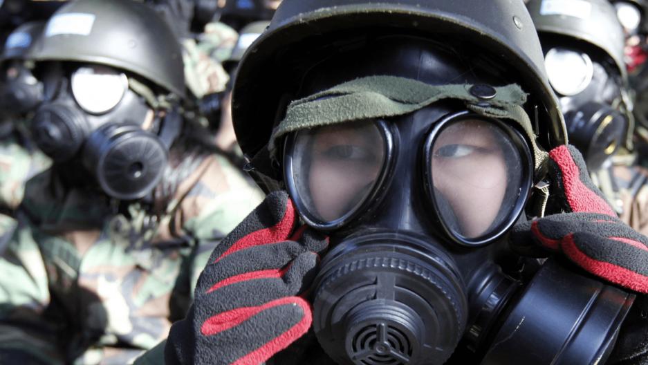 korean students wear gas masks