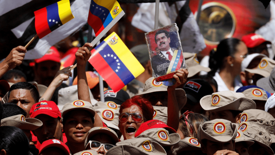 supporters at a rally for Venezuelan President Nicolas Maduro