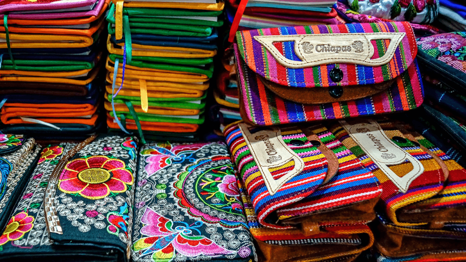 mexican handicrafts at a market in chiapas